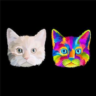 Buntes hauptkatzen-pop-art-porträt