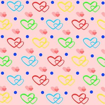 Buntes herz und tupfen nahtlose muster zum valentinstag