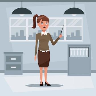 Buntes hintergrundarbeitsplatzbüro mit exekutivfrau mit der pferdeschwanzfrisur, die mit zeiger steht