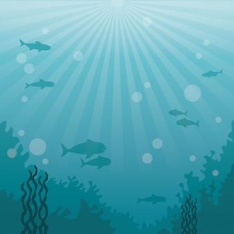 Buntes hintergrundseelandschafts-unterwassermarineleben