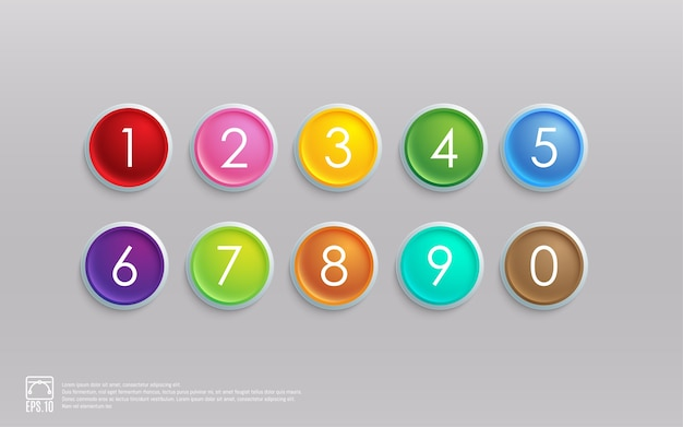 Buntes ikonensatz 3d mit nummer
