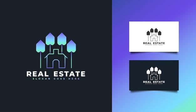 Buntes immobilien-logo mit abstraktem konzept im linienstil. bau-, architektur- oder gebäudelogo-designvorlage