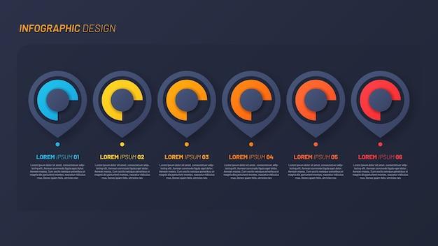 Buntes infografikdesign, vorlage, konzept, präsentation. 6 schritte