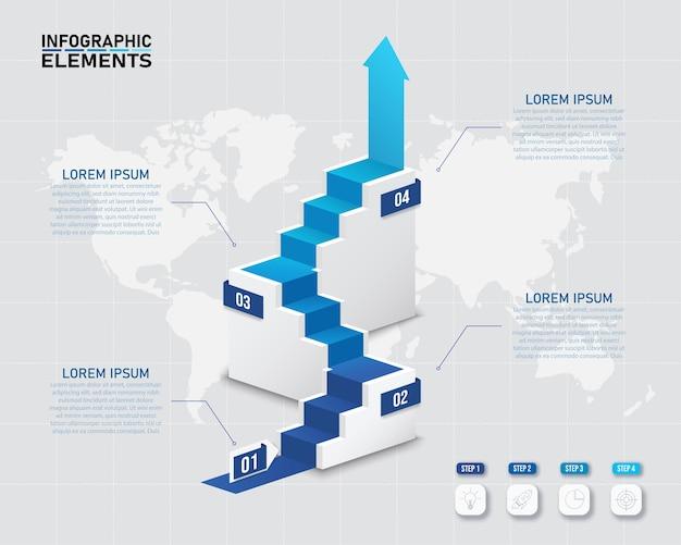 Buntes infografikelemententwurf der 3d treppe mit 4 optionen.