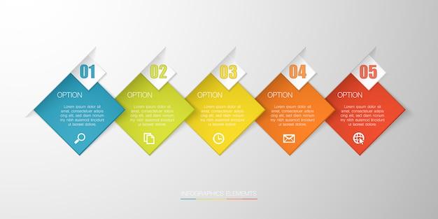 Buntes infographic mit textbox auf grauem hintergrund für geschäft, beginnen oben oder technologie