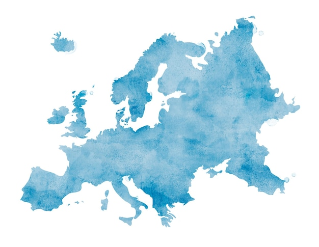 Buntes isoliertes europa in aquarell
