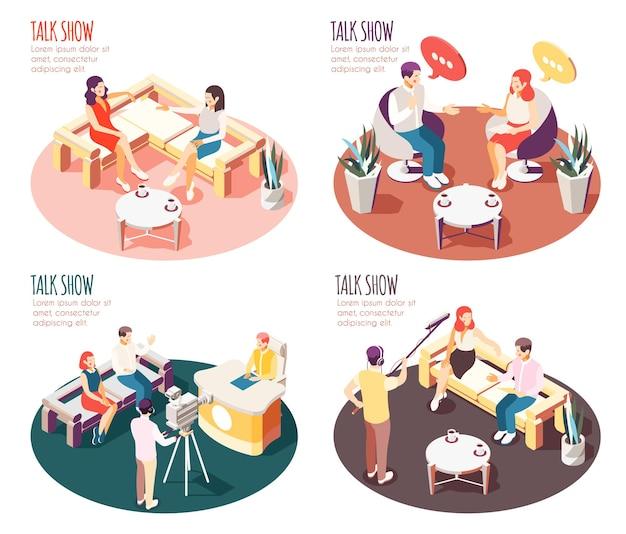 Buntes isometrisches designkonzept für talkshowillustration