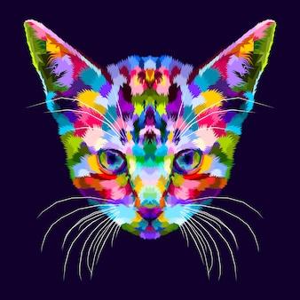 Buntes kätzchen auf abstrakter pop-art