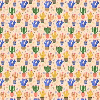 Buntes kaktuspflanzenmuster