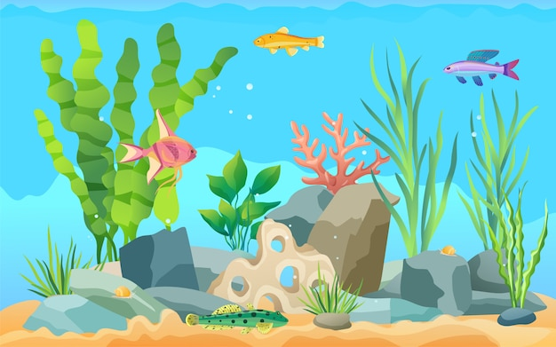 Buntes karikatur-aquarium-fisch-gesetztes promo-plakat