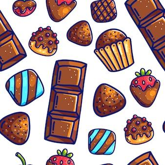 Buntes karikaturgekritzel mit nahtlosem musterhintergrund der süßen süßigkeiten der entwürfe für packpapier und verpackung. pralinen und beeren.
