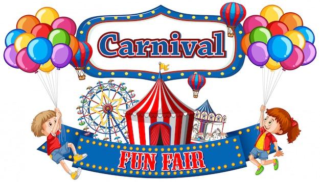 Buntes karnevals-jahrmarktbanner mit jungen und mädchen