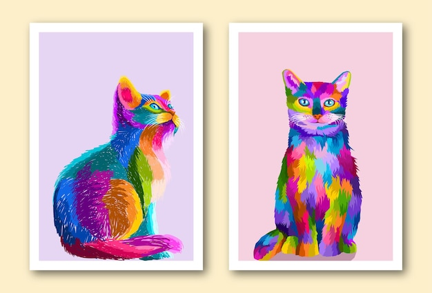 Buntes katzen-pop-art-porträt in isolierter rahmendekoration, bereit zum drucken von posterdesign