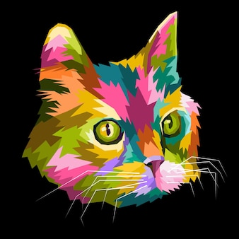 Buntes katzenkopf-symbol auf pop-art-stil-poster-design zum drucken bereit