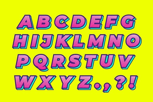 Buntes komisches alphabet 3d