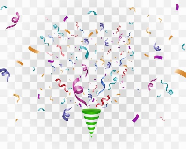 Buntes konfetti auf weißem hintergrund. festlicher fröhlicher hintergrund. kegel mit konfetti.