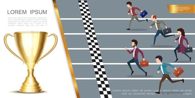 Buntes konzept der führung und des erfolgs mit geschäftsleuten, die marathon und realistischen glänzenden goldpokal laufen