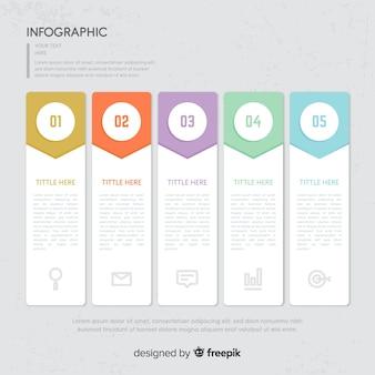 Buntes konzept der infographic schritte im flachen design