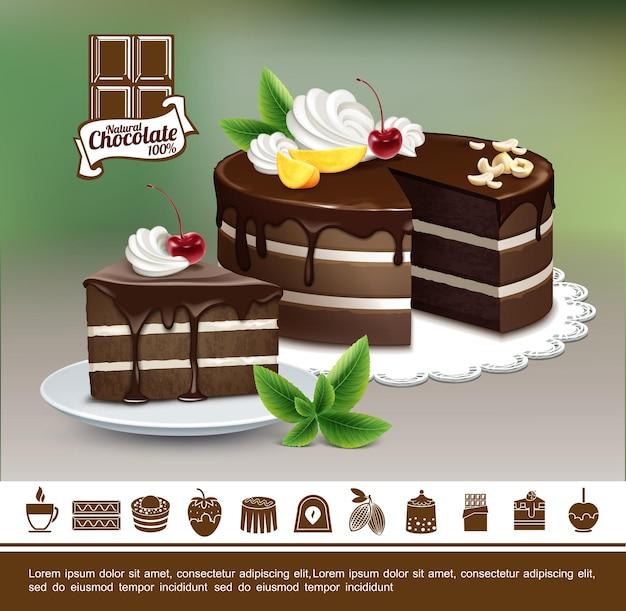 Buntes konzept der leckeren desserts mit realistischen schokoladenkuchen mit nusscreme-kirsch-mango-scheiben und schokoladen-süßwaren-ikonen