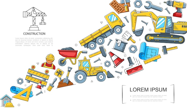 Buntes konzept der linearen konstruktion mit bauwagen-lkw-traktor-baggerhammer-schaufelbohrer-bohrer-bürstenlineal-wagenschlüssel-illustration