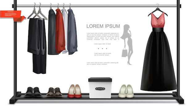 Buntes konzept der realistischen trendigen garderobe mit hosenhemdenkleid auf kleiderbügeln männlicher und weiblicher schuhbox für accessoires
