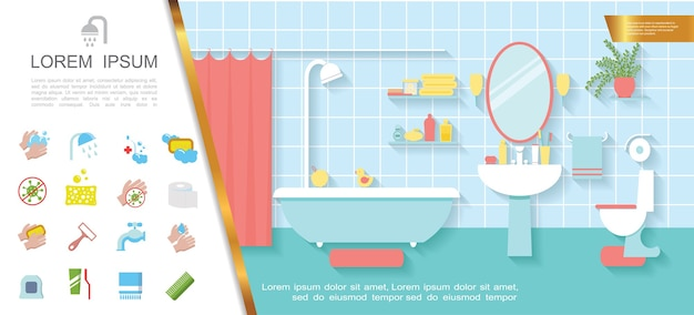 Buntes konzept des flachen badezimmerinnenraums