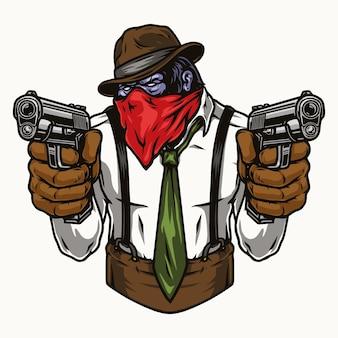Buntes konzept des gorilla-gangsters, der pistolen isoliert hält