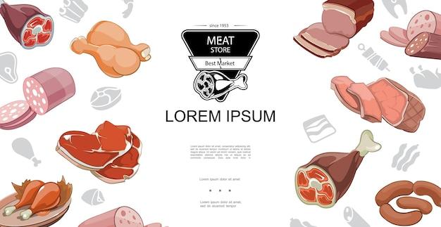 Buntes konzept des karikaturfleischnahrungsmittels mit schweineknöchel-rindfleischsteak-brathähnchenschenkelschinken-speck-salami-illustration,