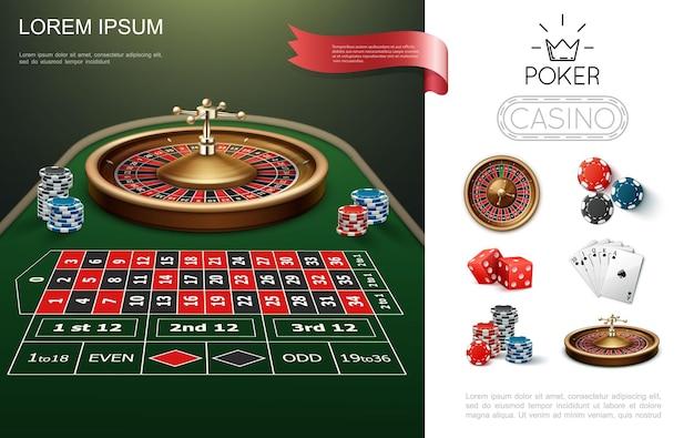 Buntes konzept des realistischen kasinos mit roulette-spieltisch-poker-spielkartenchips und -würfelillustration