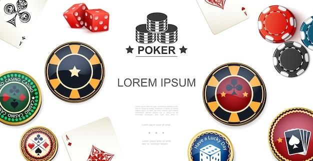 Buntes konzept des realistischen pokers mit chips würfelt asse und jokerkarten