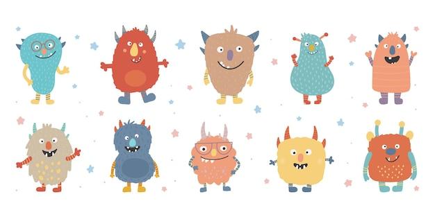 Buntes kopfgesicht des monsters. fröhliches halloween. kawaii beängstigender lustiger babycharakter der netten karikatur. Premium Vektoren