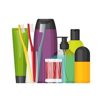 Buntes kosmetikflaschenset, flaches design