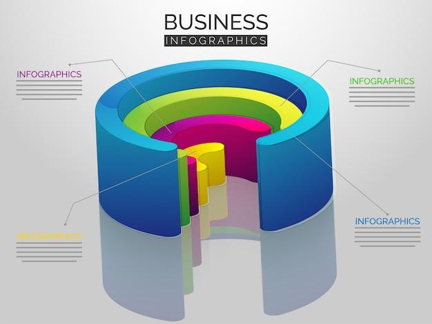 Buntes kreisförmiges element 3d für infografik-daten