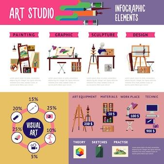 Buntes kunststudio-infografik-konzept