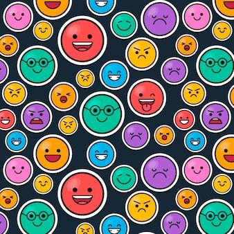 Buntes lächeln emoticons muster