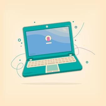Buntes laptop-notizbuch mit login-hintergrundbild mit hervorhebung und schatten