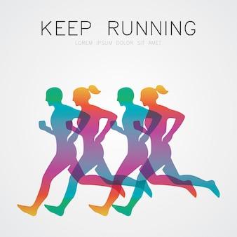 Buntes lauf- und marathonplakat