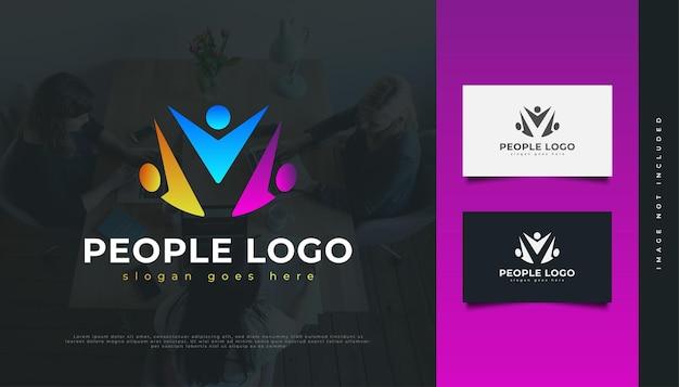 Buntes leute-logo. menschen, community, netzwerk, creative hub, gruppe, social connection logo oder symbol für business identity Premium Vektoren