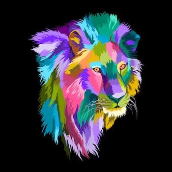 Buntes löwen-pop-art-porträt