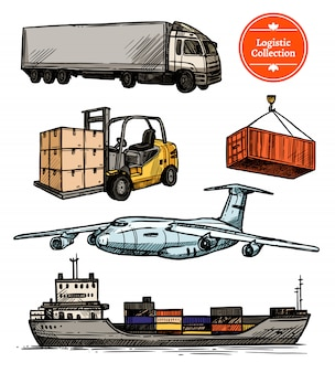 Buntes logistisches set