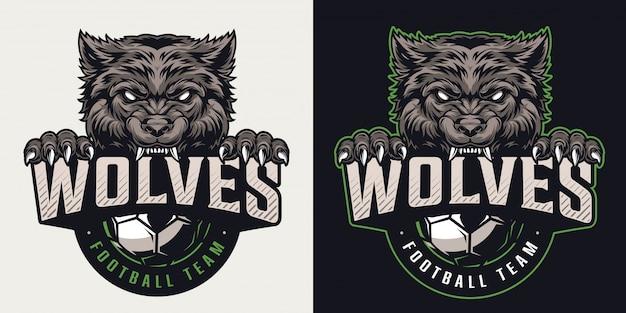 Buntes logo der weinlesefußballmannschaft