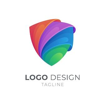 Buntes logo des 3d-schildes