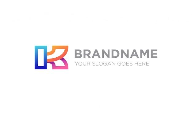 Buntes logo des buchstabens k.