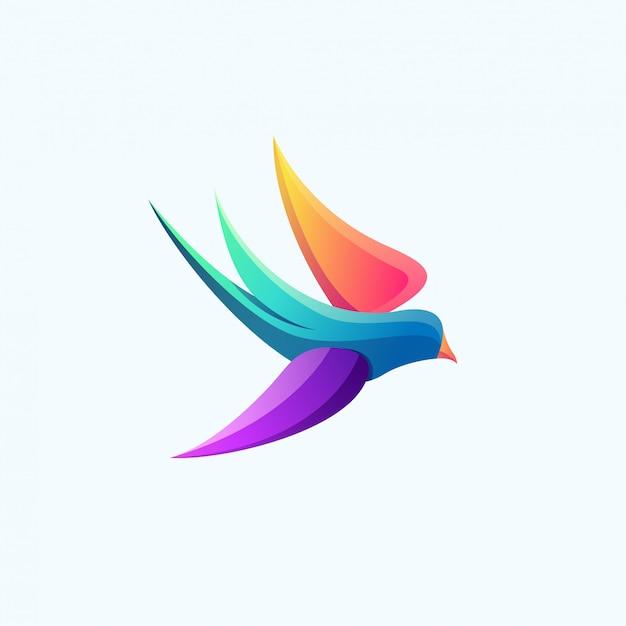 Buntes logo des modernen vogels