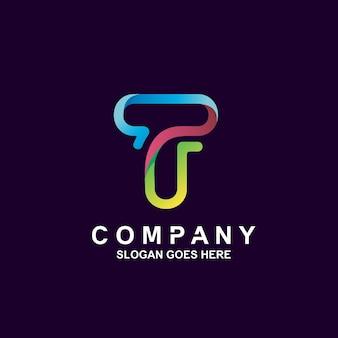 Buntes logo-design des buchstaben t