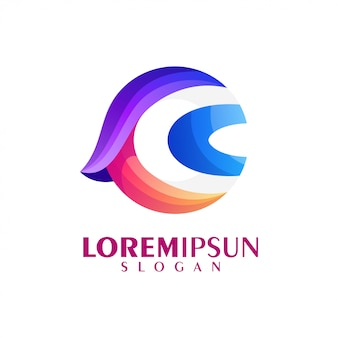 Buntes logo-design des buchstabens c.