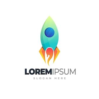 Buntes logo-design des raketenverlaufs-geschäftslogos des raketenfeuerstarts