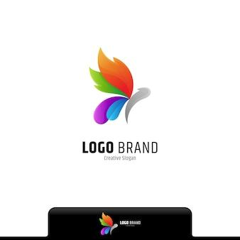 Buntes logo mit farbverlauf des schmetterlings