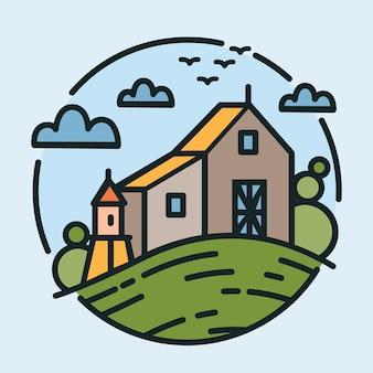 Buntes logo mit schöner ländlicher landschaft und landwirtschaftlichem gebäude, das auf hügel steht