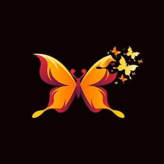 Buntes logo-zusammenfassungsdesign des schönheitsschmetterlings